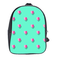 Love Heart Set Seamless Pattern School Bag (large)