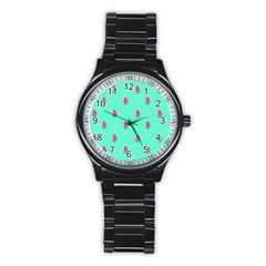Love Heart Set Seamless Pattern Stainless Steel Round Watch