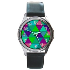 Background Geometric Triangle Round Metal Watch