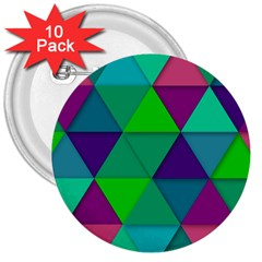 Background Geometric Triangle 3  Buttons (10 Pack)
