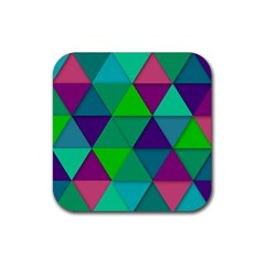 Background Geometric Triangle Rubber Square Coaster (4 Pack)
