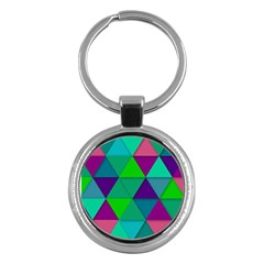 Background Geometric Triangle Key Chains (round)