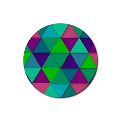 Background Geometric Triangle Rubber Round Coaster (4 Pack)