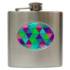 Background Geometric Triangle Hip Flask (6 Oz)