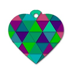 Background Geometric Triangle Dog Tag Heart (two Sides)