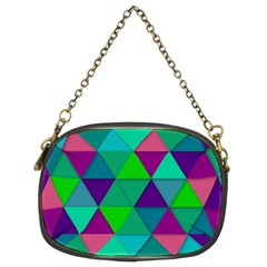 Background Geometric Triangle Chain Purses (two Sides)