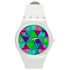 Background Geometric Triangle Round Plastic Sport Watch (m)