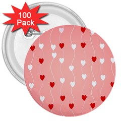 Heart Shape Background Love 3  Buttons (100 Pack)