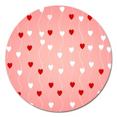Heart Shape Background Love Magnet 5  (round)