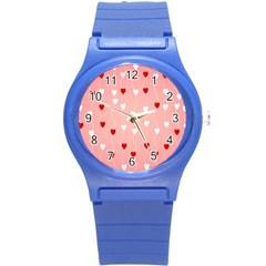 Heart Shape Background Love Round Plastic Sport Watch (s)