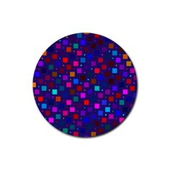 Squares Square Background Abstract Rubber Round Coaster (4 Pack)