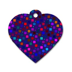 Squares Square Background Abstract Dog Tag Heart (one Side)