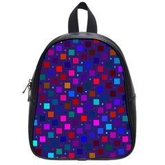 Squares Square Background Abstract School Bag (small)