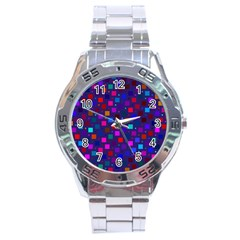 Squares Square Background Abstract Stainless Steel Analogue Watch