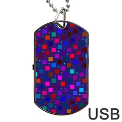 Squares Square Background Abstract Dog Tag Usb Flash (two Sides)
