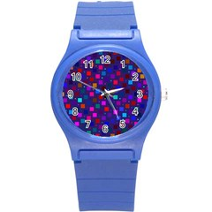Squares Square Background Abstract Round Plastic Sport Watch (s)