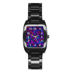 Squares Square Background Abstract Stainless Steel Barrel Watch