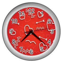 Background Valentine S Day Love Wall Clocks (silver)  by Nexatart