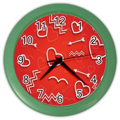 Background Valentine S Day Love Color Wall Clocks