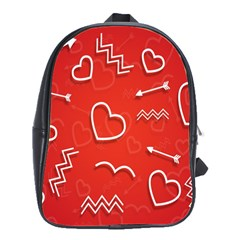 Background Valentine S Day Love School Bag (large)