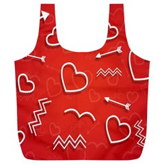 Background Valentine S Day Love Full Print Recycle Bags (l)