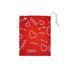 Background Valentine S Day Love Drawstring Pouches (small)