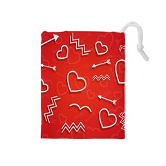 Background Valentine S Day Love Drawstring Pouches (medium)