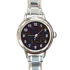 Lines Line Background Round Italian Charm Watch
