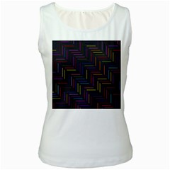 Lines Line Background Women s White Tank Top