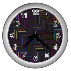 Lines Line Background Wall Clocks (silver)