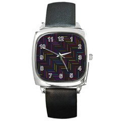 Lines Line Background Square Metal Watch