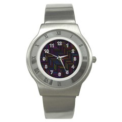 Lines Line Background Stainless Steel Watch