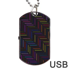 Lines Line Background Dog Tag Usb Flash (two Sides)