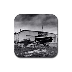 Omaha Airfield Airplain Hangar Rubber Square Coaster (4 Pack)