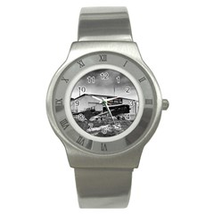Omaha Airfield Airplain Hangar Stainless Steel Watch