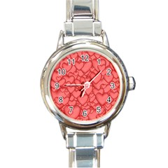 Background Hearts Love Round Italian Charm Watch