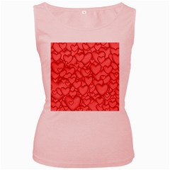 Background Hearts Love Women s Pink Tank Top