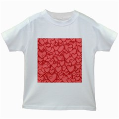 Background Hearts Love Kids White T Shirts