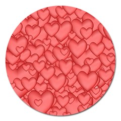 Background Hearts Love Magnet 5  (round)
