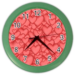 Background Hearts Love Color Wall Clocks
