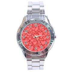 Background Hearts Love Stainless Steel Analogue Watch