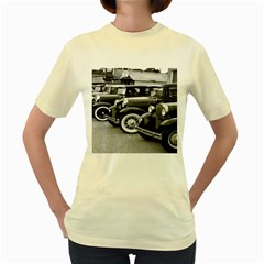 Vehicle Car Transportation Vintage Women s Yellow T Shirt