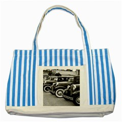 Vehicle Car Transportation Vintage Striped Blue Tote Bag