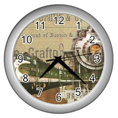 Train Vintage Tracks Travel Old Wall Clocks (silver)