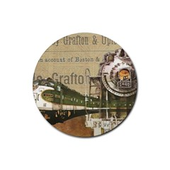 Train Vintage Tracks Travel Old Rubber Round Coaster (4 Pack)
