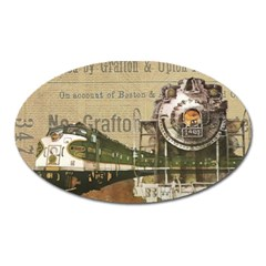 Train Vintage Tracks Travel Old Oval Magnet