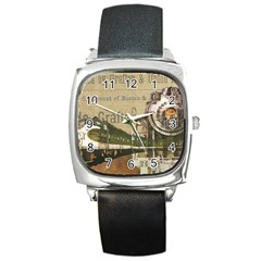 Train Vintage Tracks Travel Old Square Metal Watch
