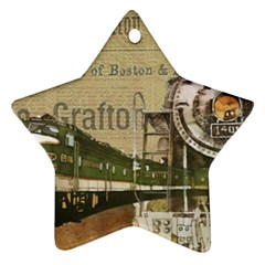 Train Vintage Tracks Travel Old Star Ornament (two Sides)