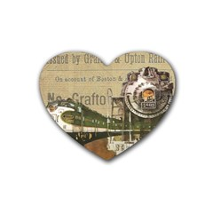 Train Vintage Tracks Travel Old Rubber Coaster (heart)