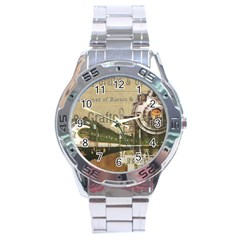 Train Vintage Tracks Travel Old Stainless Steel Analogue Watch